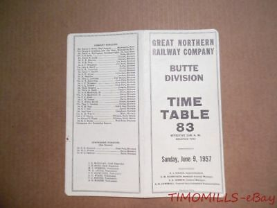 1957 Great Northern Railway Employee Timetable 83 Butte Division GNR ETT Vintage