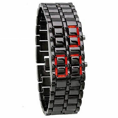 LC01 Stainless LED Bracelet Sport Wrist Watch No-Dial Black Lava Style Mens