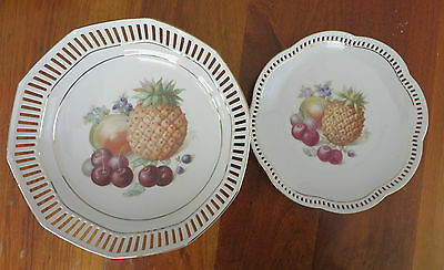 Two Vintage Ribbon Plates Germany Fruit Pineapple