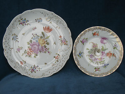Dresden Porcelain Tea Plate and another Dresden Style Cabinet Plate