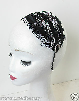 Black Silver & White Feather Headpiece Vtg Headband Fascinator Flapper 1920s N61