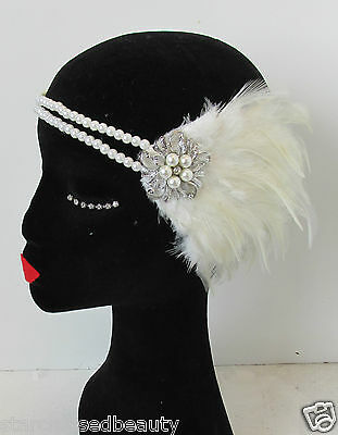 Ivory White Silver Pearl Feather Headpiece Vintage Headband Flapper 1920s N65