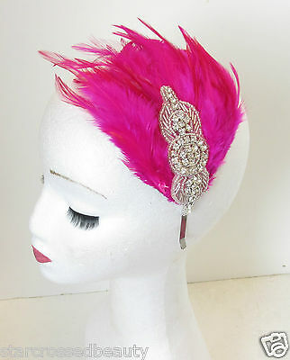 Hot Pink Silver Feather Headpiece Fascinator Headband Vintage Flapper 1920s N68