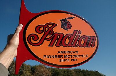 OLD STYLE INDIAN MOTORCYCLE THICK STEEL 2 SIDED VINTAGE STYLE SIGN MADE IN USA!