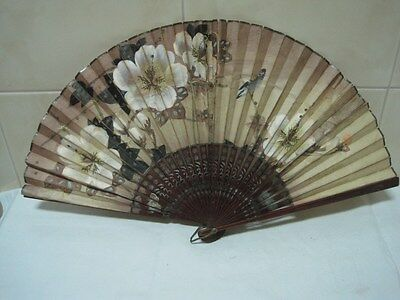 Antique  Fan in paper and wood brown with flowers