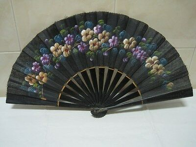 Antique  Fan in wood and tissue hand painted with flowers black