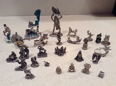 Fantasy Pewter Figurines 27 Piece Lot Dragons, Wizards, Mermaids, Unicorns, More