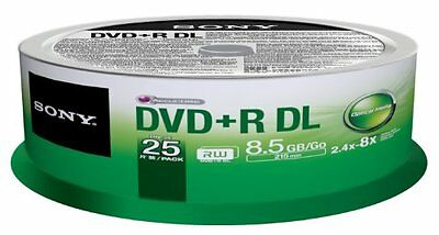 SONY DVD+R 8.5GB 8x Speed Recordable Dual Layer DVD Discs Spindle Pack 25