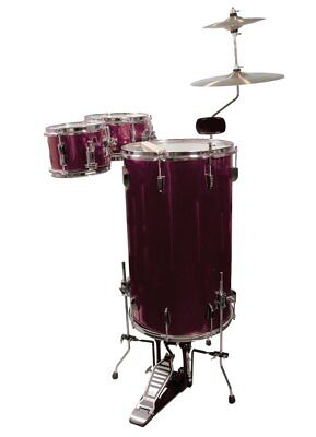 NEW FULL SIZE 1940's STYLE RETRO STANDING COCKTAIL DRUM SET KIT - WINE RED
