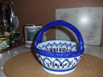 Blue And White  Porcelain Fruit Basket Very Nice