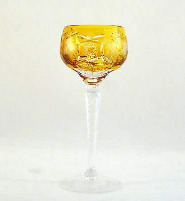 Nachtmann Traube Cut to Clear Crystal Amber Gold Tall Hock Wine Glass