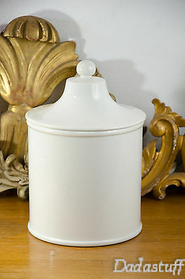 Big Old French SARREGUEMINES WHITE APOTHECARY JAR PHARMACY POT