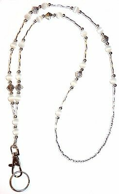 Non Breakaway SUPER Slim White Fashion Women's Beaded Lanyard 34 inches, STRONG!