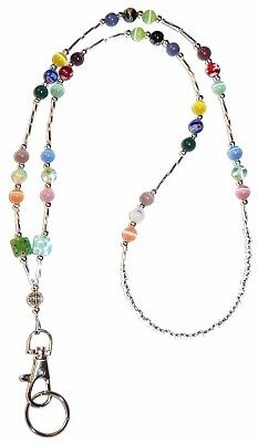 Non Breakaway SUPER Slim Multi Fashion Women's Beaded Lanyard 34 inches, STRONG!