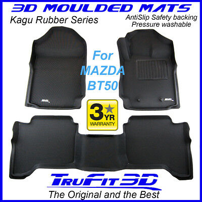 To suit Mazda BT50 Dual Crew Cab 2012 to 2017 - 3D Black Rubber Car Floor Mats