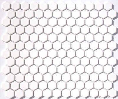 Sample White Hexagon Gloss Mosaic Wall & Floor Tiles 2.3 x 2.3