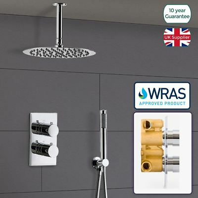 Slim 2 Dial 2 Way Concealed Shower Mixer Valve Round Ceiling Head Wras Approved