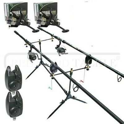 Carp 2 Way Rod Set Up /Reels & Line/Pod/Alarms/Rods & Box Of Fishing Accessories