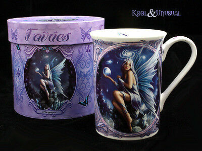 "Anne Stokes Bone China Mug Cup: ""Stargazer"" Fairy with Crystals and Orb"