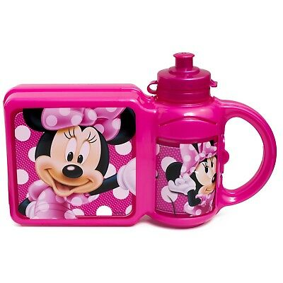 Disney Minnie Mouse Sandwich Lunch Snack Box And Water Drinking Bottle Combo Set