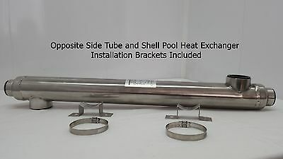 55k BTU Stainless Steel Heat Exchanger w/Opposite Side Ports for Pools/Spas