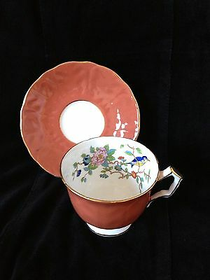 Vintage Aynsley Fine Bone China 2902-rust Cup& Saucer Blue Bird Gold Trim