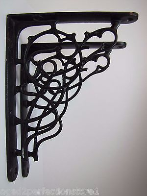 Antique Cast Iron Architectural Pair Brackets scroll design old shelf wall art