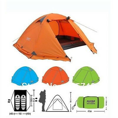 Orange Double layer Camping Tent 2persons 4 Season Snow Skirt Aluminum Support