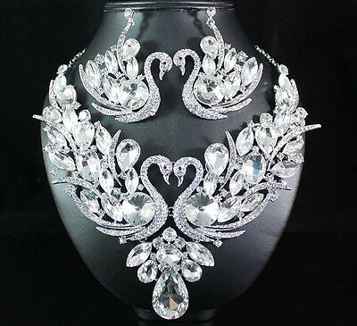 Swans Clear Austrian Rhinestone Bib Necklace Earrings Set Pageant Prom N1660C
