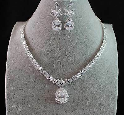 Teardrop Cz Cubic Zirconia Crystal Necklace Earrings Set Wedding Bridal  Cz1850