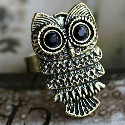 Women Lady Cute Retro Bronze Antique Vintage Lovely Owl Adjustable Ring Jewelry