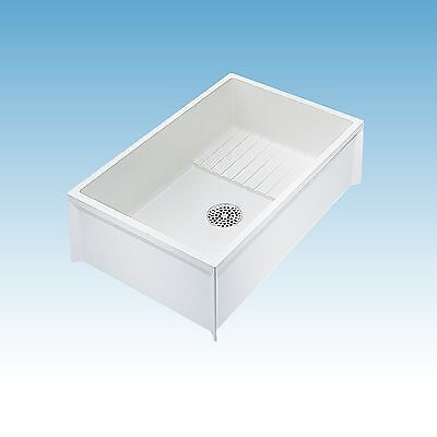 MOP SINK SERVICE BASIN Single Bowl White Floor Mount Center Drain 36 x 24 x 10in