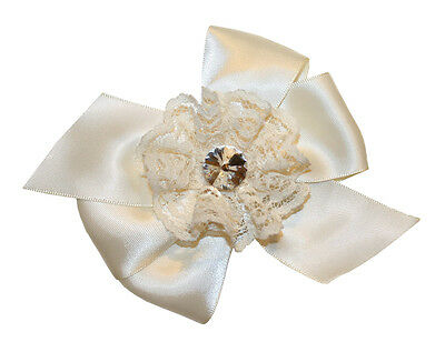 New Girls Vintage Ivory Satin Rhinestone & Lace Hair Bow French Clip 9024A