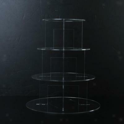 4 Tier Clear Hard Acrylic Round Cupcake Stand Wedding Birthday Party Display