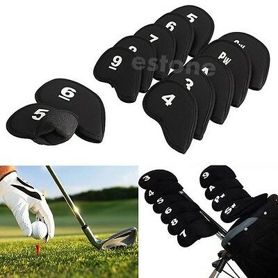 Hot New Golf Head Cover Club Iron Putter Head Protector Set Neoprene Black 10pcs