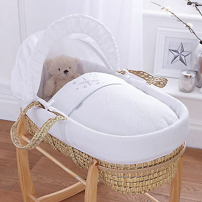 New Clair De Lune Stardust White Padded White Palm Moses Basket & Mattress