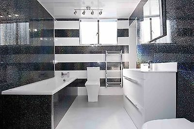 2 Black Sparkle PVC Wall Panels Waterproof Decorative Wall Cladding Shower Panel