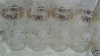 (4) VINTAGE LIBBEY  WHITE & GOLD  FLOWER GLASS TUMBLERS  GLASSES