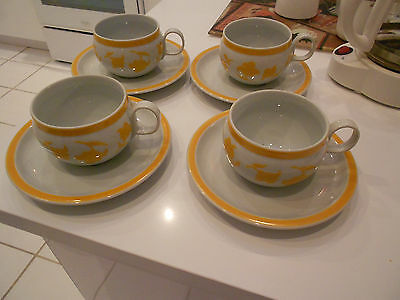 BLOCK HEARTHSTONE GINGER 8PC. CUP & SAUCER SET-VISTA ALEGRE-VG++ CONDITION