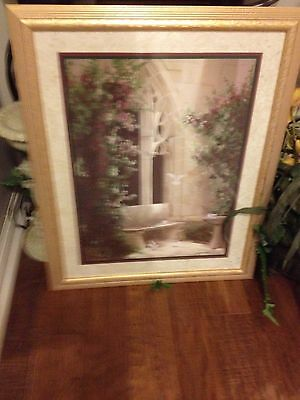 Vintage Home Interior Picture Print Doves in Courtyard signed  Birkenstock