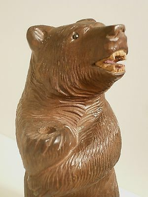 Antique BIG BEAR WOOD Standing Carved Black Forest Woodcarvings Decoration 19th