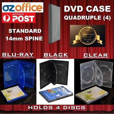 PREMIUM QUALITY Quadruple 4 DVD Case Quad Four DVD Covers Blu Ray Black Clear