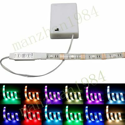 New Portable RGB Waterproof LED Strip Lights With Battery Box 50-200CM