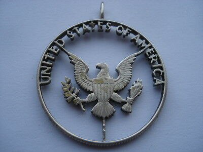 Vintage United States Of America Skeleton Cut Coin Pendant