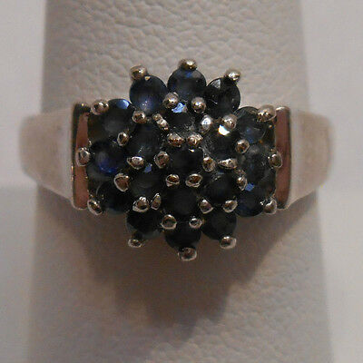Vintage Estate~Stunning Sapphire 925 Sterling Silver Cluster Cocktail Ring Sz 8