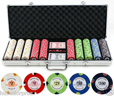 Monaco Texas Hold 'Em 13.5g 500 pc Clay Poker Chips w/ Case Cards Dice