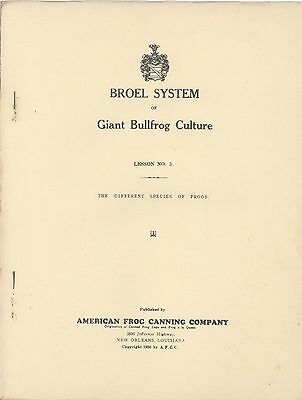 1936 New Orleans Louisiana BULLFROG CULTURE FROG FARMING Broel System #3 CANNING