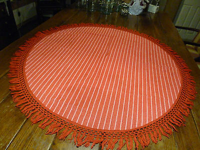 "Vintage Red/White StripedTablecloth Terrycloth Oval White 4"" Fringe"