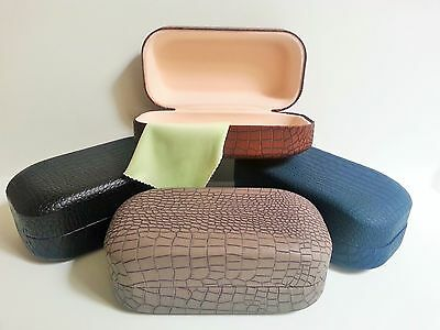 Eye Glasses Sunglasses Hard Clamshell Case Faux Leather Assorted Colors