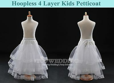 4 Layer Lace Kids Petticoat Underskirt Slip Flower Girls Wedding Crinoline White